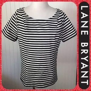 Lane Bryant Black & White Stretch Top 18/20